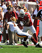 Landover, MD - September 21, 2008 -- Washington Redskins wide receiver Devin Thomas (11) is horse collared by Arizona Cardinals safety Adrian Wilson (24) in third quarter action at FedEx Field in Landover, Maryland on Sunday, September 21, 2008.  The Redskins won the game 24 - 17..Credit: Ron Sachs / CNP