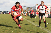 Timote Asi gets a free run to the tryline to score during the Counties Manukau Premier 1 Club Rugby game between Karaka and Waiuku, played at the Karaka Sports Park on Saturday May 11th 2019. Karaka won the game 33 - 14 after leading 14 - 7 at halftime.<br /> Photo by Richard Spranger.