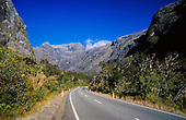 The road leading up the glacial Cleddau valley to the Homer Tunnel on the return trip from Milford Sound, Fiordland National Park, South Island, New Zealand.