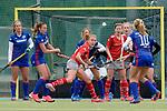 GER - Mannheim, Germany, April 22: During the German Hockey Bundesliga women match between Mannheimer HC (blue) and Club an der Alster (red) on April 22, 2017 at Am Neckarkanal in Mannheim, Germany. Final score 1-1 (HT 1-0). <br /> <br /> Foto &copy; PIX-Sportfotos *** Foto ist honorarpflichtig! *** Auf Anfrage in hoeherer Qualitaet/Aufloesung. Belegexemplar erbeten. Veroeffentlichung ausschliesslich fuer journalistisch-publizistische Zwecke. For editorial use only.