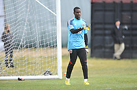 Goalkeeper Bill hamid (28) of D.C. United  warming up during the pre-season practice at the auxiliary fields at RFK Stadium, Thursday February 28, 2013.