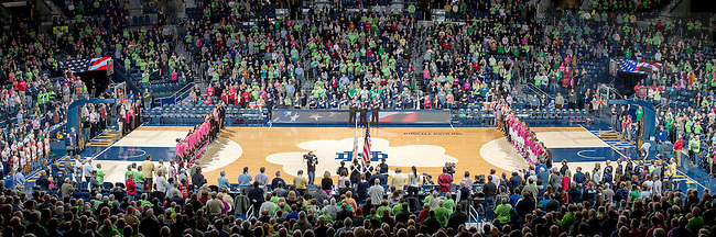 Feb. 23, 2015; The national anthem at the Women's Basketball game against Louisville. (Photo by Matt Cashore/University of Notre Dame)
