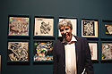 Federico Giudiceandrea, industrialist and collector, poses in front of some LP covers illustrated with drawings inspired to works by Maurits Cornelis Escher, at Palazzo Reale in Milan June 23, 2016. Giudiceandrea is one of the curator of Escher exhibition that takes place at Palazzo Reale from June 24 to Jannuary 27, 2017; he is also the main Escher collector in Europe. &copy; Carlo Cerchioli<br /> <br /> Federico Giudiceandrea, industriale e collezionista, posa davanti ad alcune cover di LP illustrate con disegni che si ispirano alle opere di Maurits Cornelis Escher, a Palazzo Reale, Milano 23 giugno 2016. Giudiceandrea &egrave; uno dei curatori della mostra su Escher che si tiene a Palazzo Reale dal 24 giugno al 27 gennaio 2017 ed &egrave; il pi&ugrave; grande collezionista privato europeo di Escher.