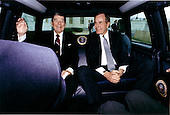 Washington, D.C. - January 20, 1989 -- United States President Ronald Reagan and President-elect George H.W. Bush arrive at the United States Capitol in Washington, DC on January 20, 1989 after a limousine ride from the White House for Bush's inaugural ceremonies..Credit: White House via CNP