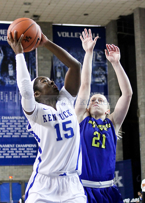 Kentucky guard Linnae Harper takes a shot during the second half of the UK Hoops vs. Morehead State women's Basketball game at Memorial Coliseum in Lexington , Ky., on Tuesday, November 18, 2014. Photo by Jonathan Krueger | Staff