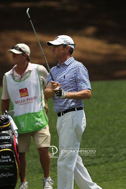 May 8,2011 - Davis Love eyes his second shot on number 3.  Lucas Glover wins the tournament in sudden death over Jonathan Byrd at Quail Hollow Country Club,Charlotte,NC.