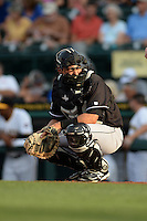 Jupiter Hammerheads catcher Chris Hoo (8) looks to the dugout during a game against the Bradenton Marauders on April 18, 2015 at McKechnie Field in Bradenton, Florida.  Bradenton defeated Jupiter 4-1.  (Mike Janes/Four Seam Images)