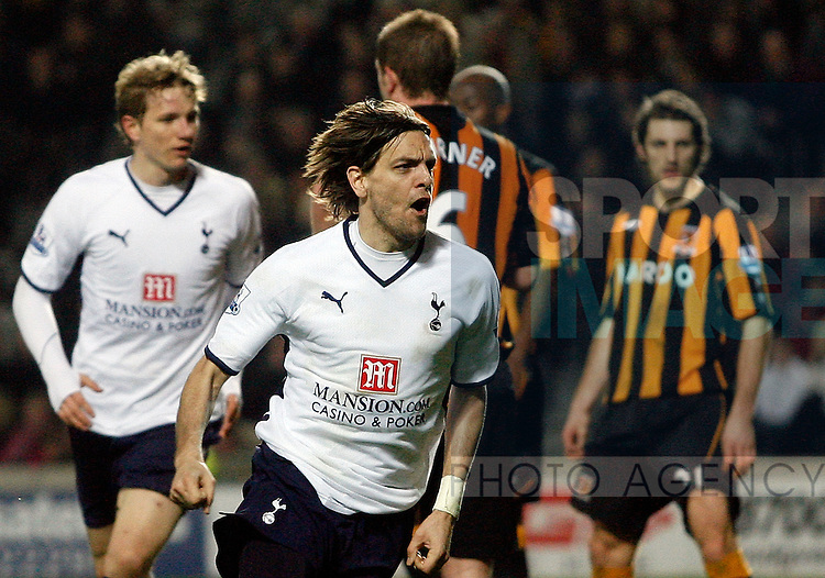 Jonathan Woodgate of Tottenham celebrates his winning goal