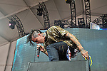 Yelawolf (real name Michael Atha) performs during the Hangout Music Fest in Gulf Shores, Alabama on May 18, 2012.