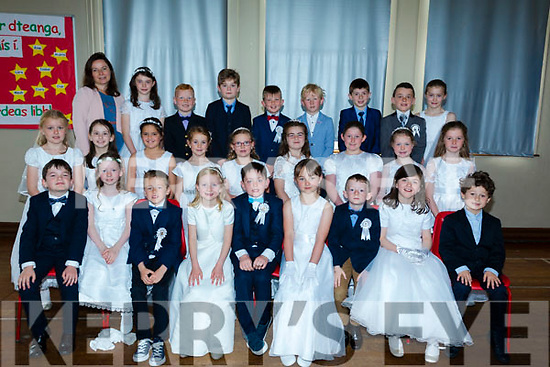 Pupils of Spa Ns who made their First Holy Communion on Saturday in Church of the Purification Churchill, with the pupils is their class teacher McBuckley.