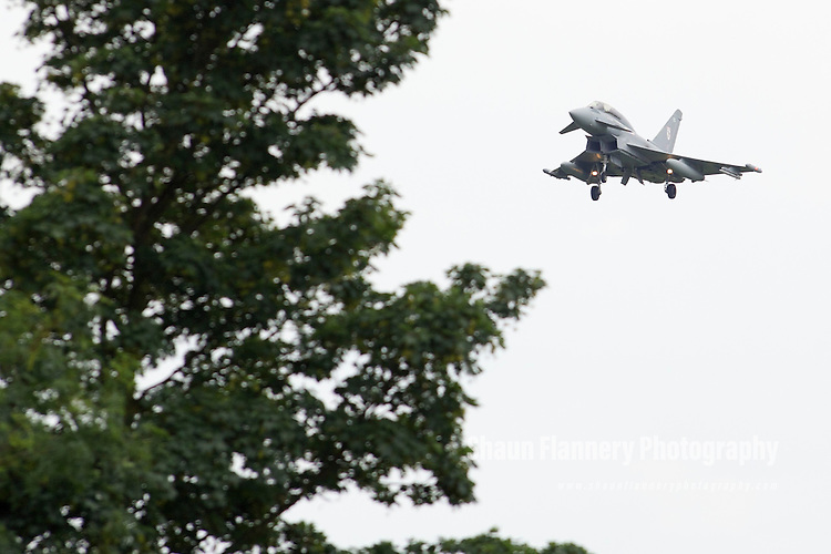 Pix: Shaun Flannery/shaunflanneryphotography.com<br /> <br /> COPYRIGHT PICTURE&gt;&gt;SHAUN FLANNERY&gt;01302-570814&gt;&gt;07778315553&gt;&gt;<br /> <br /> 7th August 2013.<br /> Eurofighter Typhoon multirole jet fighter at RAF Coningsby, Lincolnshire.