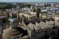 View of Seville Cathedral and cityscape from the Giralda Tower, Seville, Andalusia, Spain.