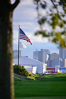 The American flag waves with the New York City skyline in the background during round 3 Foursomes of the 2017 President's Cup, Liberty National Golf Club, Jersey City, New Jersey, USA. 9/30/2017.<br /> Picture: Golffile | Ken Murray<br /> <br /> All photo usage must carry mandatory copyright credit (&copy; Golffile | Ken Murray)