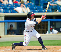 Matt Lipka #5 of the Rome Braves follows through on his swing against the Hagerstown Suns at State Mutual Stadium on May 2, 2011 in Rome, Georgia.   Photo by Brian Westerholt / Four Seam Images