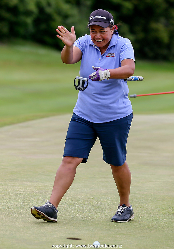 Vaha Fapiano of North Harbour celebrates forcing a playoff against Catherine Bell of Canterbury. Day Four semi finals of the Toro Interprovincial Women's Championship, Sherwood Golf Club, Whangarei,  New Zealand. Friday 8 December 2017. Photo: Simon Watts/www.bwmedia.co.nz