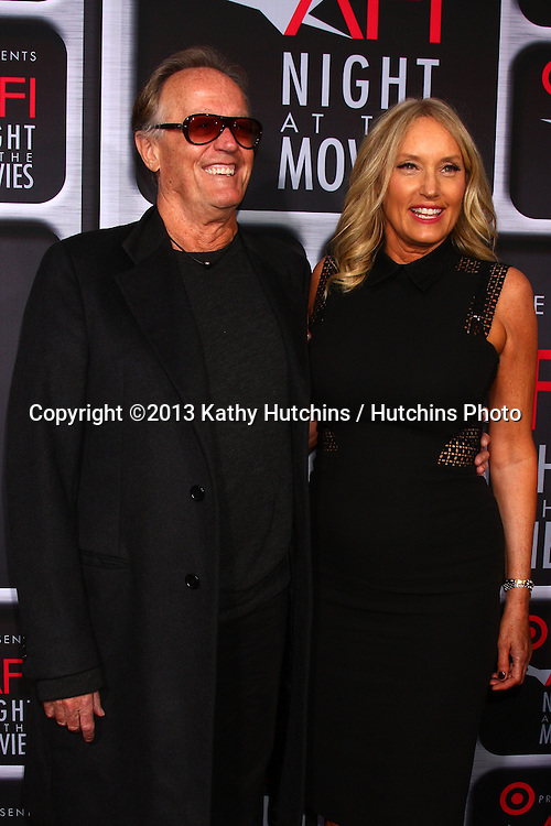 LOS ANGELES - APR 24:  Peter Fonda, wife Margaret arrives at the AFI Night at the Movies 2013 at the ArcLight Hollywood Theaters on April 24, 2013 in Los Angeles, CA