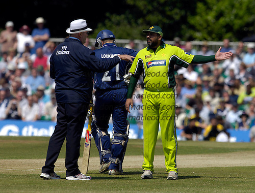 Scotland V Pakistan - 1st ever One Day International played by Scotland, at Grange CC, Raeburn Place, Edinburgh - Inzamam questions a Hair decision.... Picture by Donald MacLeod 27.6.06