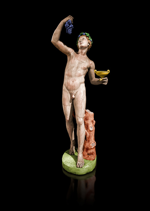 Painted colour verion of 2nd century AD Roman marble sculptured of Dionysus and Eros, inv 6307, Museum of Archaeology, Italy