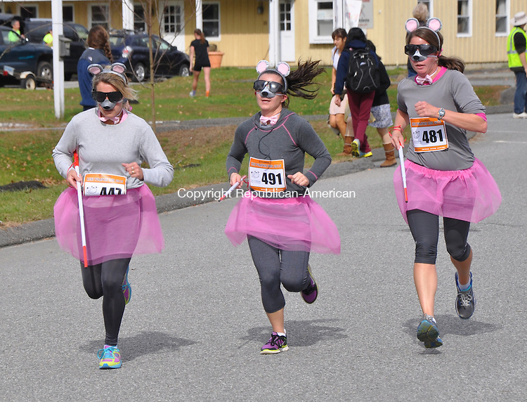 KENT, CT – 27 October 2013 - 102713LMW05 – Three Blind Mice also participated in Sunday's Kent Pumpkin Run, from left, Stephanie Therrien of Oakville, Natalie Divirgilio  and Kimberly Tessier, both of Litchfield. Lynn Mellis Worthington Republican-American