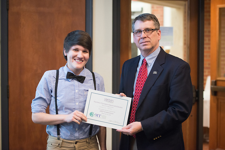 Rebecca Totton won second place in the 3 Minute Thesis Competition at the Stocker Center on February 15, 2017.