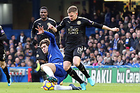 Marc Albrighton of Leicester city and Marcos Alonso of Chelsea during Chelsea vs Leicester City, Premier League Football at Stamford Bridge on 13th January 2018