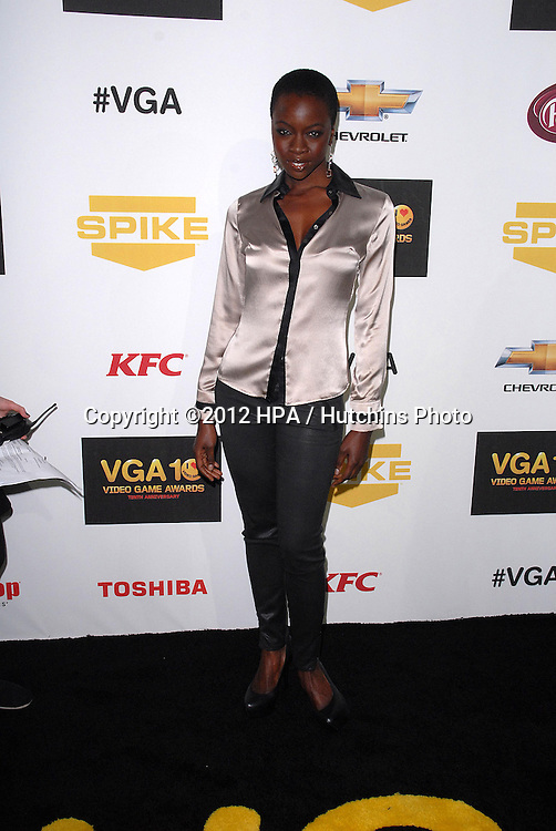 Zachary Levi LOS ANGELES - DEC 7:  Danai Gurira arrives to the Spike TV`S Video Game Awards 2012 at Sony Pictures Studios on December 7, 2012 in Culver City, CA