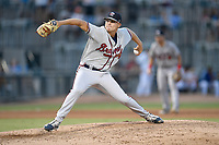 Pitcher Jake Higginbotham (15) of the Rome Braves delivers a pitch in a game against the Columbia Fireflies on Saturday, August 17, 2019, at Segra Park in Columbia, South Carolina. Rome won, 4-0. (Tom Priddy/Four Seam Images)