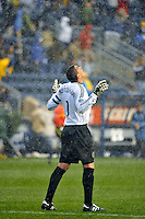 Philadelphia Union goalkeeper Faryd Mondragon (1) at the final whistle. The Philadelphia Union and the Seattle Sounders FC played to a 1-1 tie during a Major League Soccer (MLS) match at PPL Park in Chester, PA, on April 16, 2011.