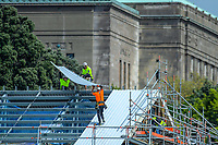 Construction work continues on the NZ Cricket Museum grandstand during day four of the Plunket Shield cricket match between the Wellington Firebirds and Canterbury at Basin Reserve in Wellington, New Zealand on Friday, 1 November 2019. Photo: Dave Lintott / lintottphoto.co.nz