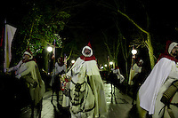 Members of a brotherhood file through the streets of Valladolid during a procession in the Holy Week of Spain. This nightime procession is one of the most famous in Valladolid, Spain. March 24, 2013 (Victor Blanco/ Alterphotos) /NortePhoto