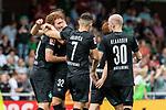 20.07.2019, Heinz-Dettmer-Stadion, Lohne, GER, Interwetten Cup, SV Werder Bremen vs 1. FC Koeln<br /> <br /> im Bild<br /> Jubel 1:0, Joshua Sargent (Werder Bremen #19) bejubelt seinen Treffer zum 1:0 mit Milot Rashica (Werder Bremen #07), Davy Klaassen (Werder Bremen #30), <br /> <br /> Foto © nordphoto / Ewert