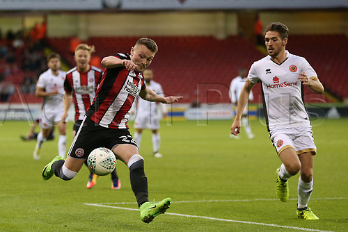 August 9th 2017, Bramall Lane, Sheffield, England; Carabao Cup First Round; Sheffield United versus Walsall; Caolan Lavery of Sheffield United crosses the ball into the box