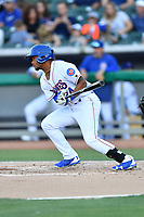 Tennessee Smokies left fielder Charcer Burks (24) swings at a pitch during a game against the Pensacola Blue Wahoos at Smokies Stadium on August 5, 2017 in Kodak, Tennessee. The Smokies defeated the Blue Wahoos 6-2. (Tony Farlow/Four Seam Images)