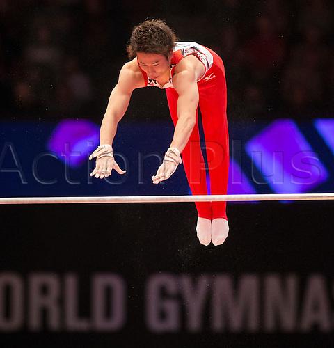 30.10.2015. Glasgow, Scotland. FIG Artistic Gymnastics World Championships. Day Eight. Kazuma KAYA (JPN) during his Horizontal Bar routine in the Men's All-Around Final.