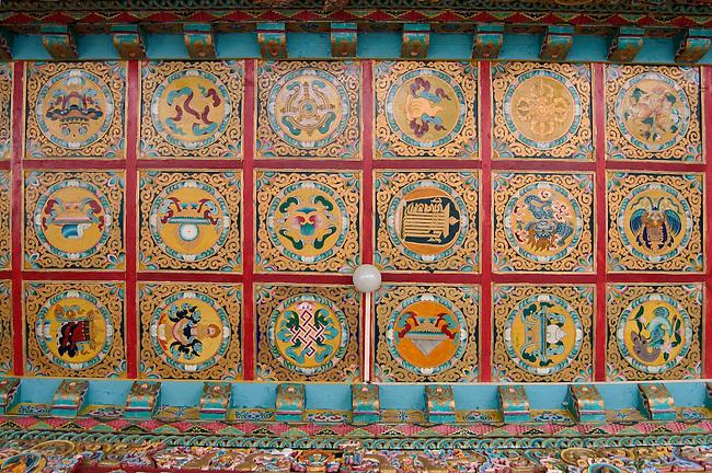 Cieling detail of the Tibetan Buddhist Lucky Symbols (Tashi Targye) in the Lhakhang Karporling the Litang Chode Monastery - Kham, Sichuan Province, China, (Tibet)