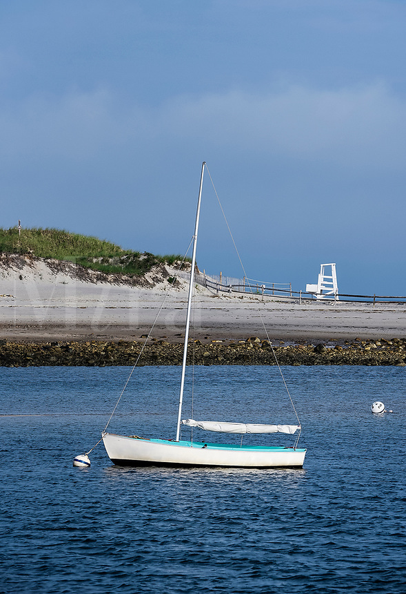 Picturesque sailboat anchored at Harborview Beach, Dennis, Cape Cod, Massachusetts, USA.
