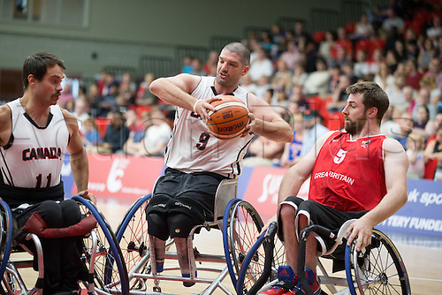 03.07.2016. Leicester Sports Arena, Leicester, England. Continental Clash Wheelchair Basketball, England versus Canada. Adam Lancia (CAN) in action during the match
