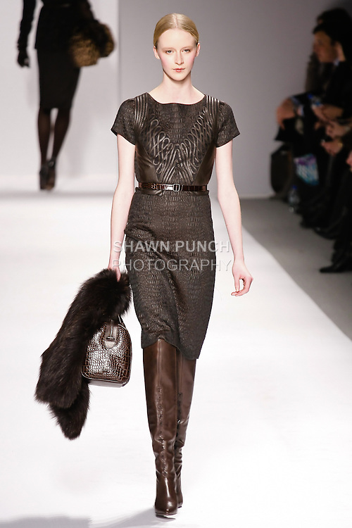 Edythe Hughes walks runway in an outfit from the Elie Tahari Fall 2011 collection, during Mercedes-Benz Fashion Week Fall 2011.