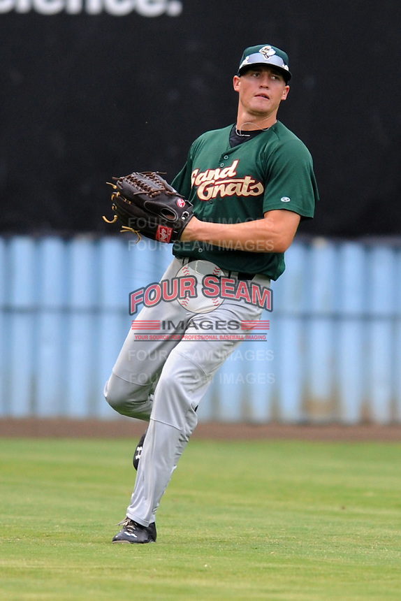 Savannah Sand Gnats center fielder Brandon Nimmo #9 makes a play during a game against the Asheville Tourists at McCormick Field on July 30, 2013 in Asheville, North Carolina. The Sand Gnats won the game 9-5. (Tony Farlow/Four Seam Images)