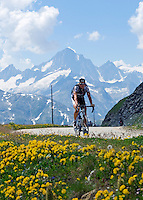 Switzerland, Canton Valais, cyclist at Furka Pass, border between cantones Valais and Uri. Finsteraarhorn mountain (4.274 m) in the Background