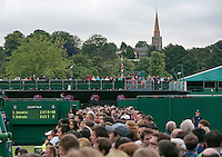 England, London, 28.06.2014. Tennis, Wimbledon, AELTC, View between courts 5 and 6 on the background Mary's Church<br /> Photo: Tennisimages/Henk Koster