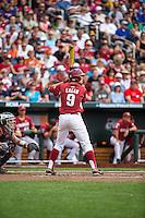 Clark Eagan (9) of the Arkansas Razorbacks bats during a game between the Virginia Cavaliers and Arkansas Razorbacks at TD Ameritrade Park on June 13, 2015 in Omaha, Nebraska. (Brace Hemmelgarn/Four Seam Images)
