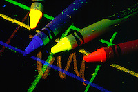 FLUORESCENT CRAYONS under UV Light <br />