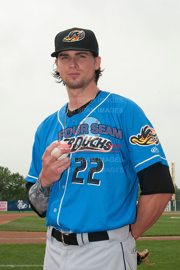 Akron RubberDucks pitcher Trey Henley (22) prior to game against the Trenton Thunder at ARM & HAMMER Park on July 14, 2014 in Trenton, NJ.  Akron defeated Trenton 5-2.  (Tomasso DeRosa/Four Seam Images)