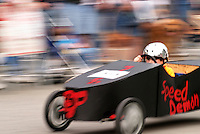 Boy competing in Soap Box Grand Prix during Kla Ha Ya Days festival, Snohomish, Snohomish County, Washington, USA