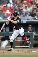 Texas Tech Red Raiders outfielder Dylan Neuse (9) at bat during Game 1 of the NCAA College World Series against the Michigan Wolverines on June 15, 2019 at TD Ameritrade Park in Omaha, Nebraska. Michigan defeated Texas Tech 5-3. (Andrew Woolley/Four Seam Images)
