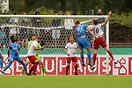 11.08.2019, Salmtalstadion, Salmrohr, GER, DFB-Pokal, 1. Runde FSV Salmrohr vs Holsteinm Kiel<br /> <br /> DFB REGULATIONS PROHIBIT ANY USE OF PHOTOGRAPHS AS IMAGE SEQUENCES AND/OR QUASI-VIDEO.<br /> <br /> im Bild / picture shows<br /> <br /> Tim KIEREN (FSV Salmrohr, #01, grün), Michael DINGELS (FSV Salmrohr, #20, weiß), Lucas ABEND (FSV Salmrohr, #02, weiß), Hauke WAHL (Holstein Kiel, #24, blau) und Nico TOPPMÖLLER (FSV Salmrohr, #16, weiß)  <br /> <br /> <br /> Foto © nordphoto / Schwarz