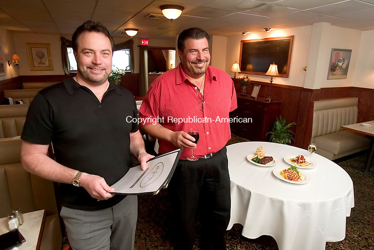 THOMASTON, CT. 19 April 2007-041807SV10--From left, Guy Morrone and Matt Morrone, owners of A. Joseph's restaurant in Thomaston.<br /> Steven Valenti Republican-American