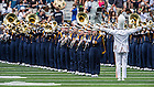 Aug. 30, 2014; The Notre Dame Marching Band performs before the football game against Rice..Photo by Matt Cashore
