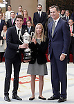King Felipe VI of Spain delivers the Princess Leonor Award to the athlete, under 18, who has excelled during the year, for his sporting progression, Aina Colom and Alex Marquez. November 17, 2015. (ALTERPHOTOS/Acero)